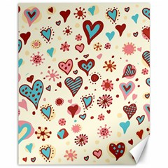 Valentine Heart Pink Love Canvas 11  x 14