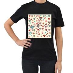 Valentine Heart Pink Love Women s T-Shirt (Black)