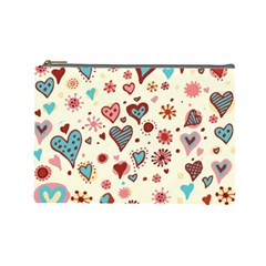 Valentine Heart Pink Love Cosmetic Bag (Large)