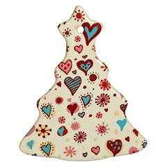 Valentine Heart Pink Love Christmas Tree Ornament (2 Sides)