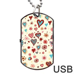 Valentine Heart Pink Love Dog Tag USB Flash (Two Sides)