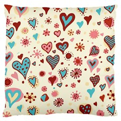 Valentine Heart Pink Love Large Cushion Case (One Side)