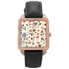 Valentine Heart Pink Love Rose Gold Leather Watch