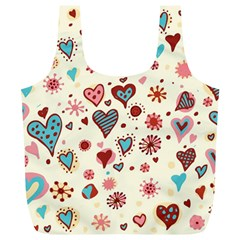 Valentine Heart Pink Love Full Print Recycle Bags (L)