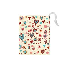 Valentine Heart Pink Love Drawstring Pouches (small)