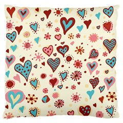Valentine Heart Pink Love Large Flano Cushion Case (Two Sides)