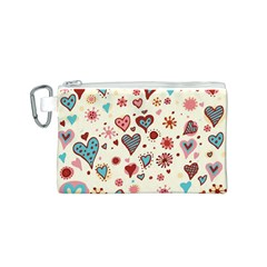 Valentine Heart Pink Love Canvas Cosmetic Bag (S)
