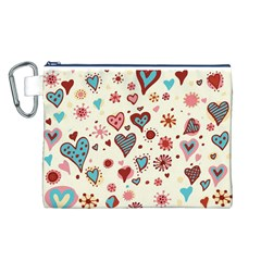 Valentine Heart Pink Love Canvas Cosmetic Bag (L)