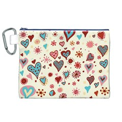 Valentine Heart Pink Love Canvas Cosmetic Bag (XL)