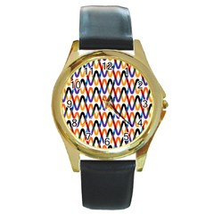 Wave Rope Round Gold Metal Watch