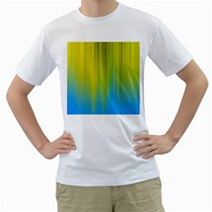 Yellow Blue Green Men s T-Shirt (White) (Two Sided)