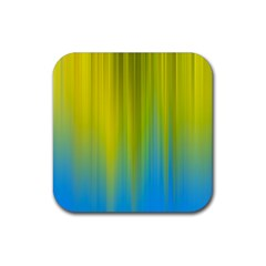 Yellow Blue Green Rubber Square Coaster (4 pack)