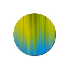 Yellow Blue Green Rubber Coaster (Round)
