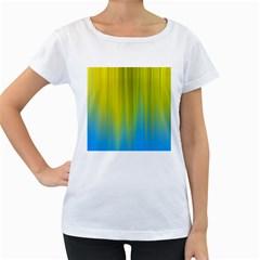 Yellow Blue Green Women s Loose-Fit T-Shirt (White)