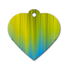 Yellow Blue Green Dog Tag Heart (Two Sides)