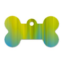Yellow Blue Green Dog Tag Bone (Two Sides)