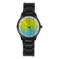 Yellow Blue Green Stainless Steel Round Watch