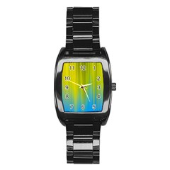 Yellow Blue Green Stainless Steel Barrel Watch