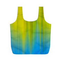 Yellow Blue Green Full Print Recycle Bags (M)