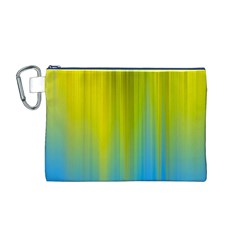Yellow Blue Green Canvas Cosmetic Bag (M)