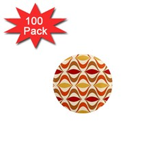 Wave Orange Red Yellow Rainbow 1  Mini Magnets (100 pack)