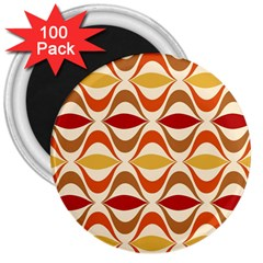 Wave Orange Red Yellow Rainbow 3  Magnets (100 pack)