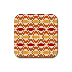 Wave Orange Red Yellow Rainbow Rubber Square Coaster (4 pack)