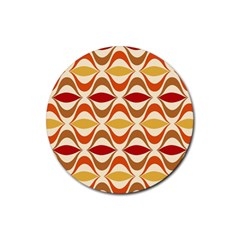 Wave Orange Red Yellow Rainbow Rubber Round Coaster (4 pack)