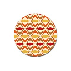 Wave Orange Red Yellow Rainbow Magnet 3  (Round)