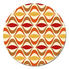 Wave Orange Red Yellow Rainbow Magnet 5  (Round)