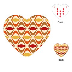 Wave Orange Red Yellow Rainbow Playing Cards (Heart)