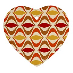 Wave Orange Red Yellow Rainbow Heart Ornament (2 Sides)