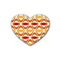 Wave Orange Red Yellow Rainbow Rubber Coaster (Heart)