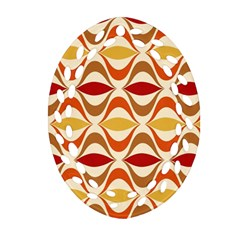 Wave Orange Red Yellow Rainbow Ornament (Oval Filigree)