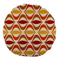 Wave Orange Red Yellow Rainbow Large 18  Premium Round Cushions