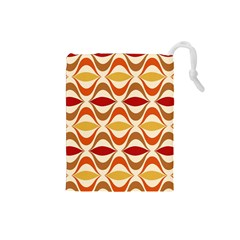Wave Orange Red Yellow Rainbow Drawstring Pouches (Small)