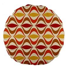 Wave Orange Red Yellow Rainbow Large 18  Premium Flano Round Cushions