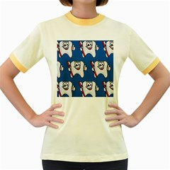 Tooth Women s Fitted Ringer T-Shirts