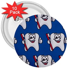 Tooth 3  Buttons (10 pack)