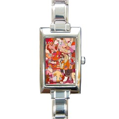 Abstract Abstraction Pattern Modern Rectangle Italian Charm Watch