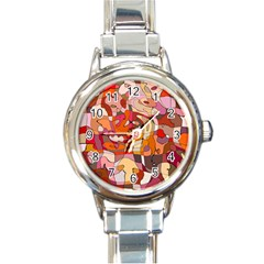 Abstract Abstraction Pattern Modern Round Italian Charm Watch