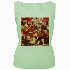 Abstract Abstraction Pattern Modern Women s Green Tank Top
