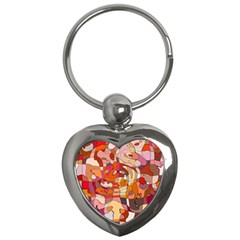 Abstract Abstraction Pattern Modern Key Chains (Heart)