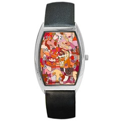 Abstract Abstraction Pattern Modern Barrel Style Metal Watch