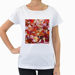 Abstract Abstraction Pattern Modern Women s Loose-Fit T-Shirt (White)