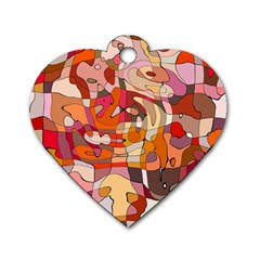 Abstract Abstraction Pattern Modern Dog Tag Heart (One Side)