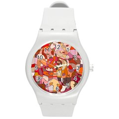 Abstract Abstraction Pattern Modern Round Plastic Sport Watch (M)