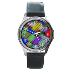 Abstract Background Pattern Round Metal Watch