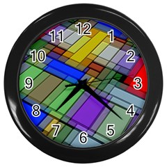 Abstract Background Pattern Wall Clocks (Black)