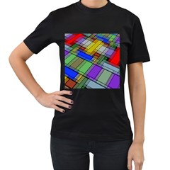 Abstract Background Pattern Women s T-Shirt (Black) (Two Sided)